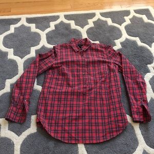 J. Crew Women's Popover Red Plaid Top